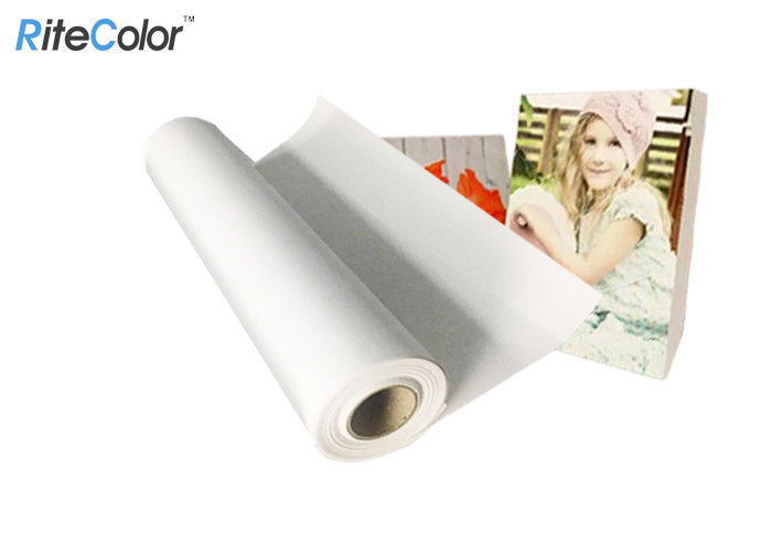 Water Resistant Glossy Polyester Canvas Rolls For Art Printing 2 Inch / 3 Inch Roll Core