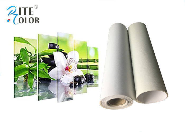 260g Roll To Roll Eco Solvent Media , Bright White Matte Polyester Digital Printing Canvas Roll